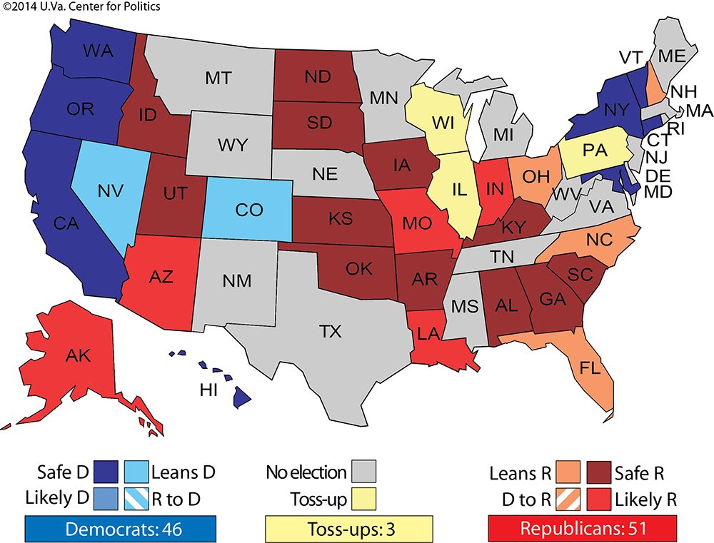 All Democrats Have To Do To Re Take The Senate Is To Win The Three Yellow Toss Up States Where They Have A Natural Advantage Plus A Couple Of The Current