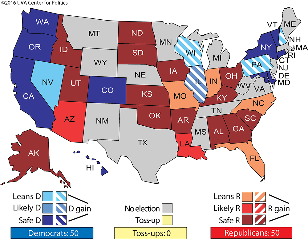Larry J Sabatos Crystal Ball  Our Final  Picks - Election turn out us map