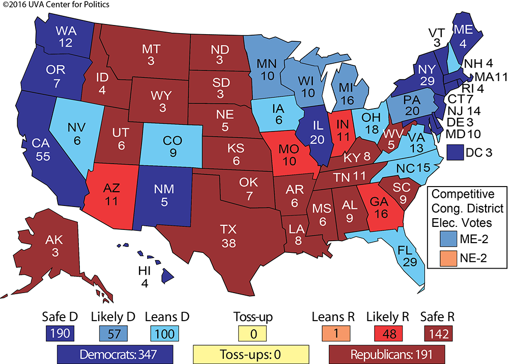 THE ELECTORAL COLLEGE: MAP NO. 2 | Larry J. Sabato\'s Crystal ...