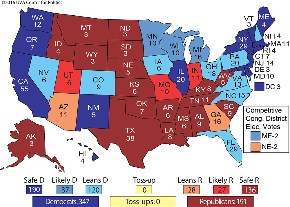 THE ELECTORAL COLLEGE MAP NO 2 Larry J Sabatos Crystal Ball
