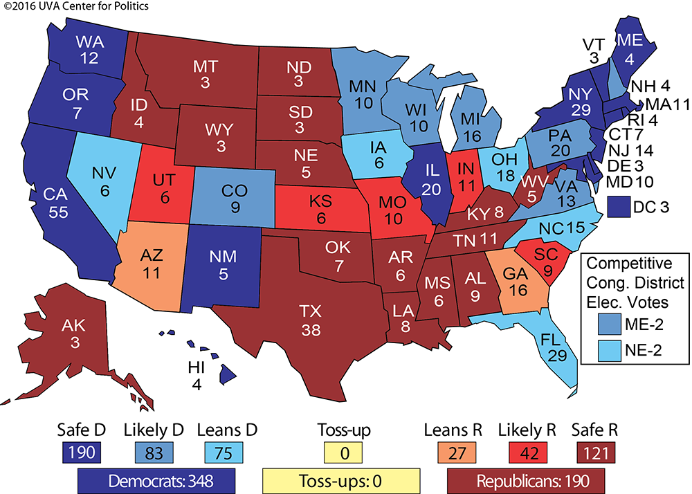 Larry J Sabatos Crystal Ball CLINTON RISES TO ELECTORAL - 2016 us presidental election map