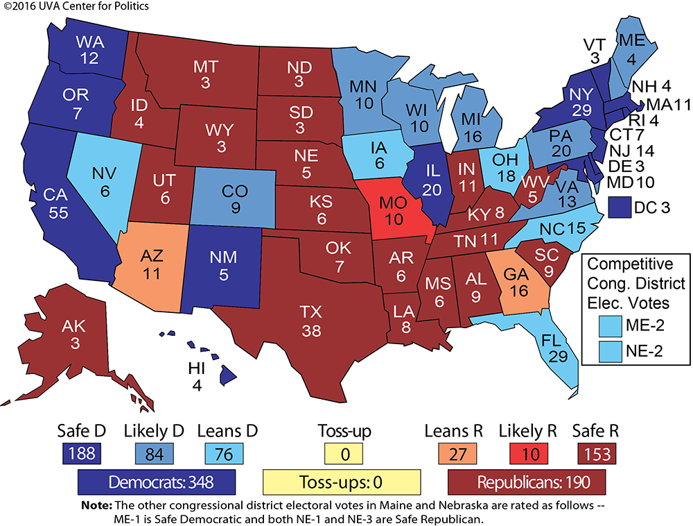 Larry J Sabatos Crystal Ball Clintons Electoral College Lead - Election map us historical