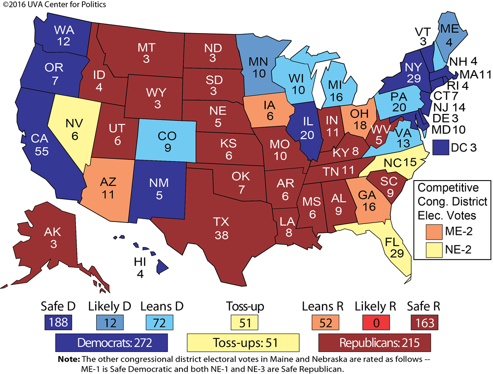 Larry J Sabatos Crystal Ball THE TRUMP SURGE - 2016 predictions us map