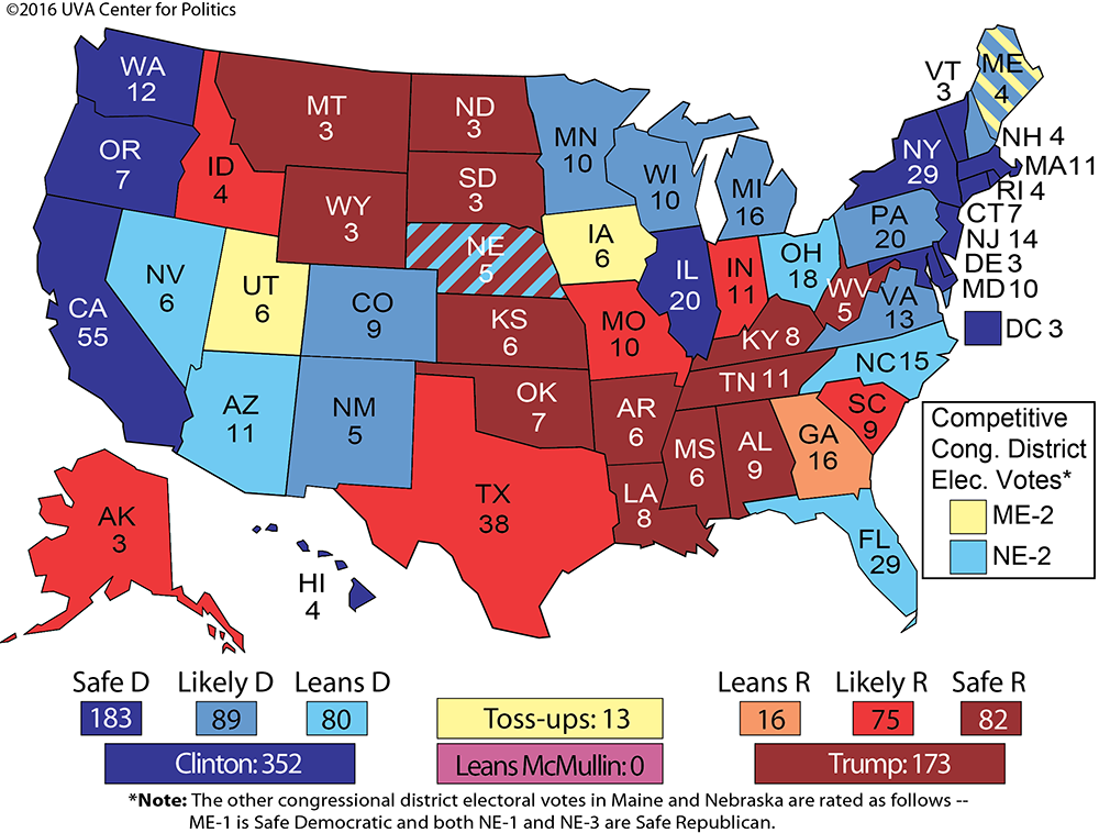 Larry J Sabatos Crystal Ball THE STATE OF PLAY WITH A DOZEN - Us map with electoral votes 2016