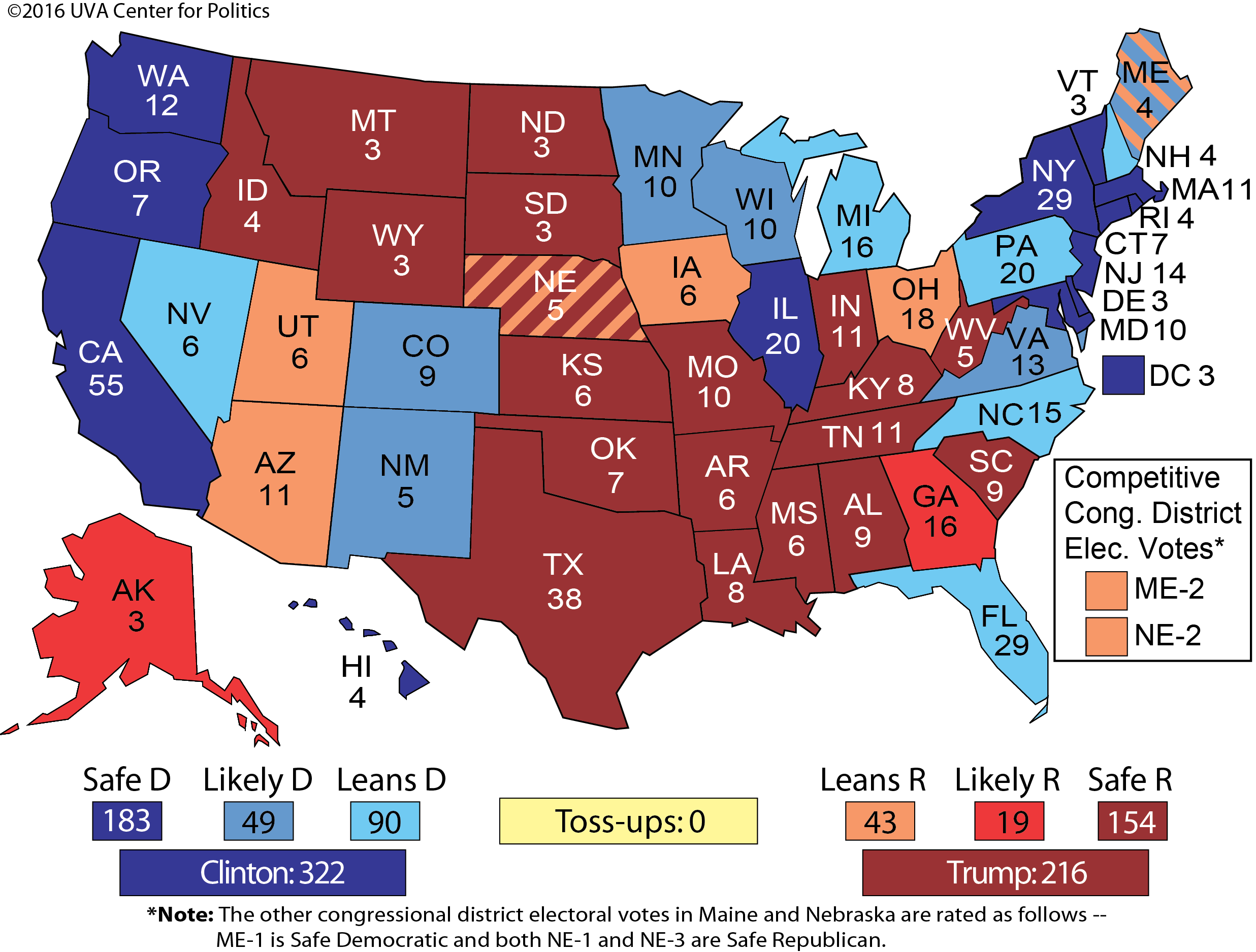2016 Electoral State Map.Larry J Sabato S Crystal Ball 2016 President