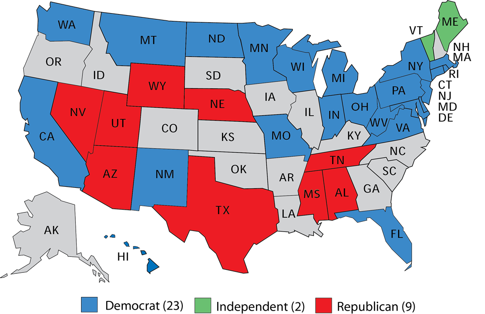 Larry J Sabatos Crystal Ball S Initial Senate Ratings - 2014 us mid election red vs blue map