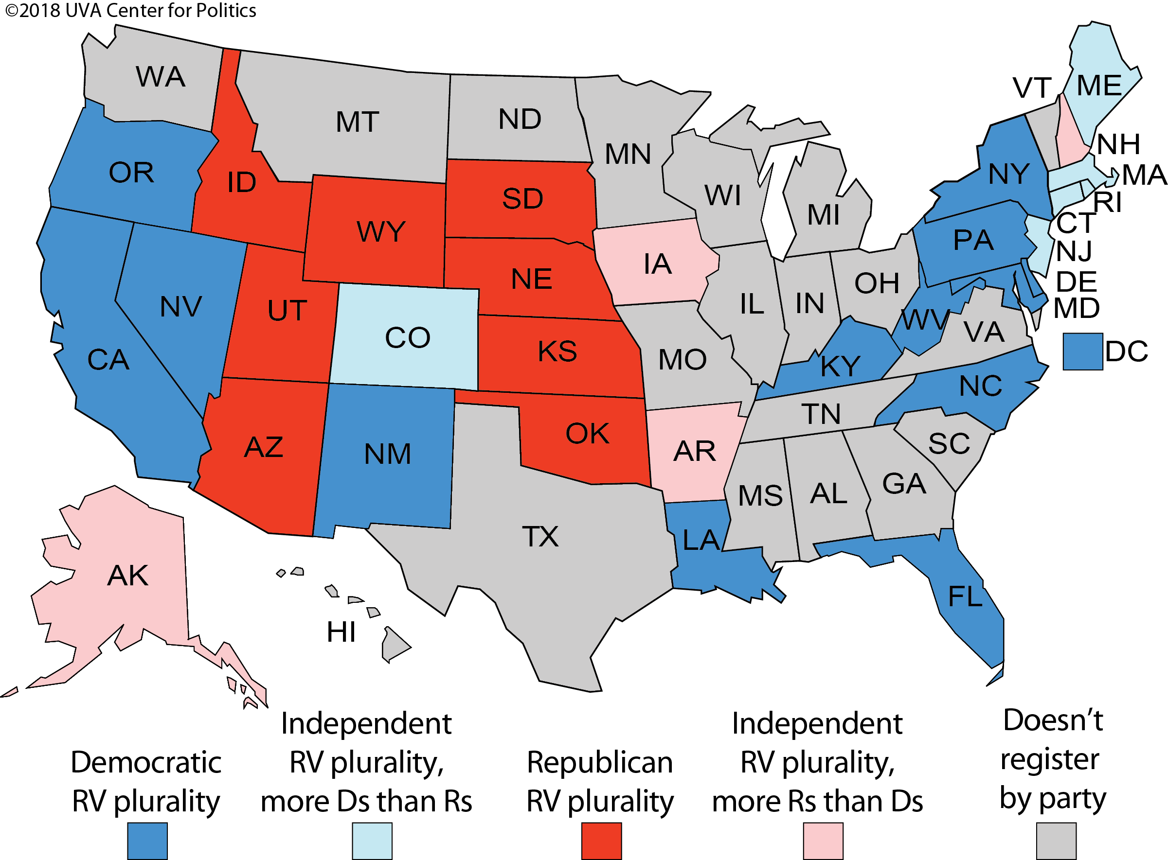 2016 Electoral State Map.Larry J Sabato S Crystal Ball Registering By Party Where The