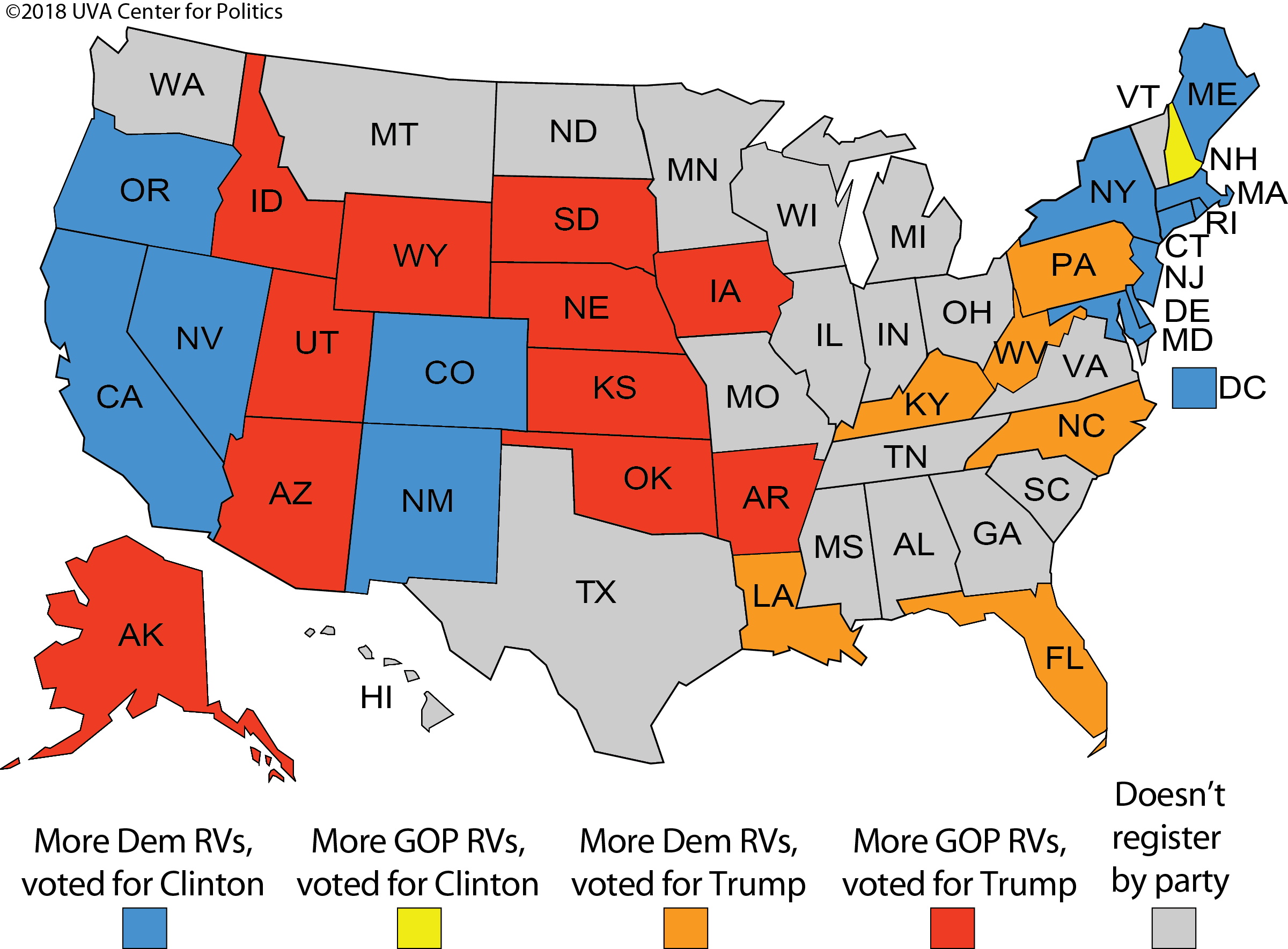 Us Map Democrat Republican States 2016.Larry J Sabato S Crystal Ball Registering By Party Where The