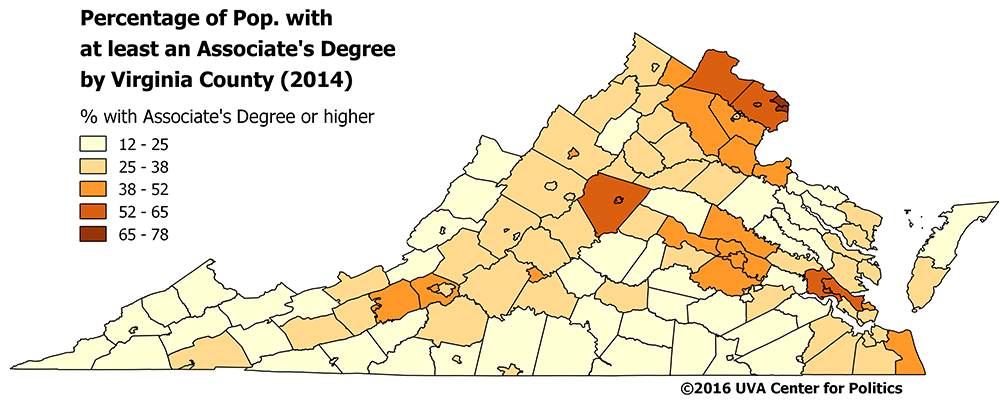 Map 3 Virginia College Graduate Percentage By County 2014
