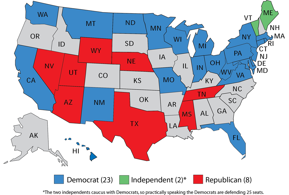 map 1 senate seats up in 2018 midterm election senate cl 1