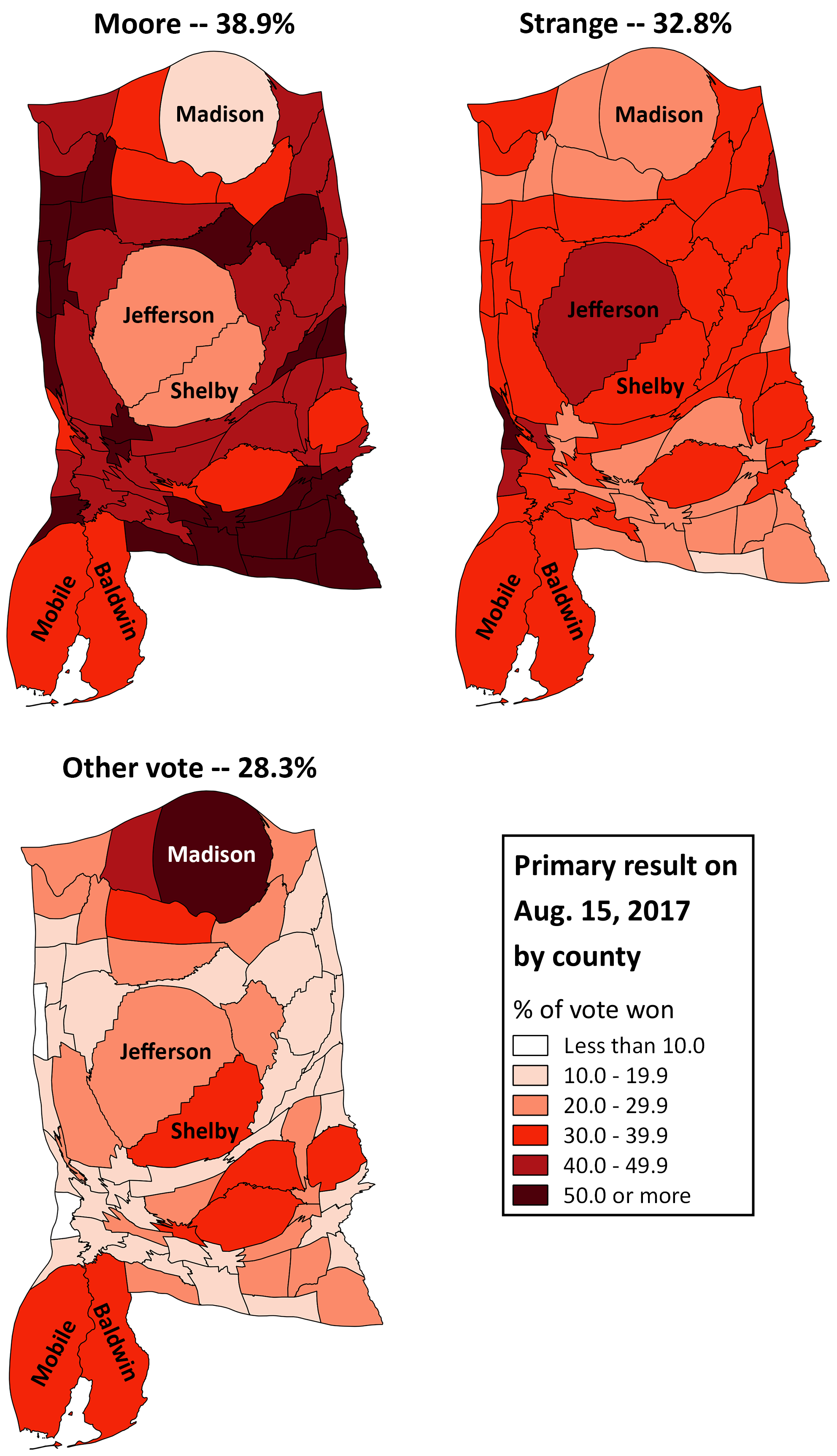 Map 1 Cartograms Of Alabama Gop Senate Primary Election Result By Candidate