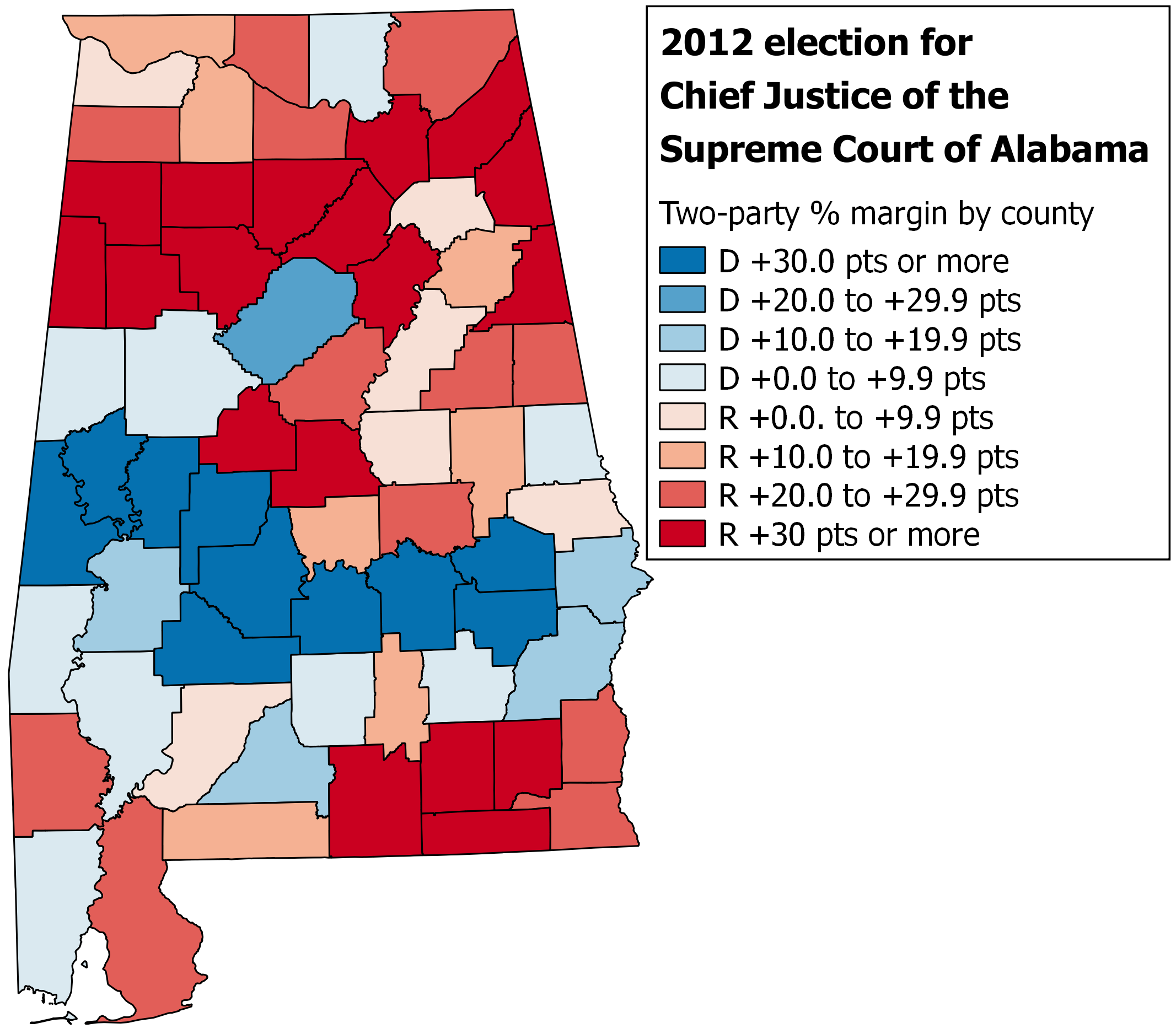 map 2 2012 election for alabama chief justice by county