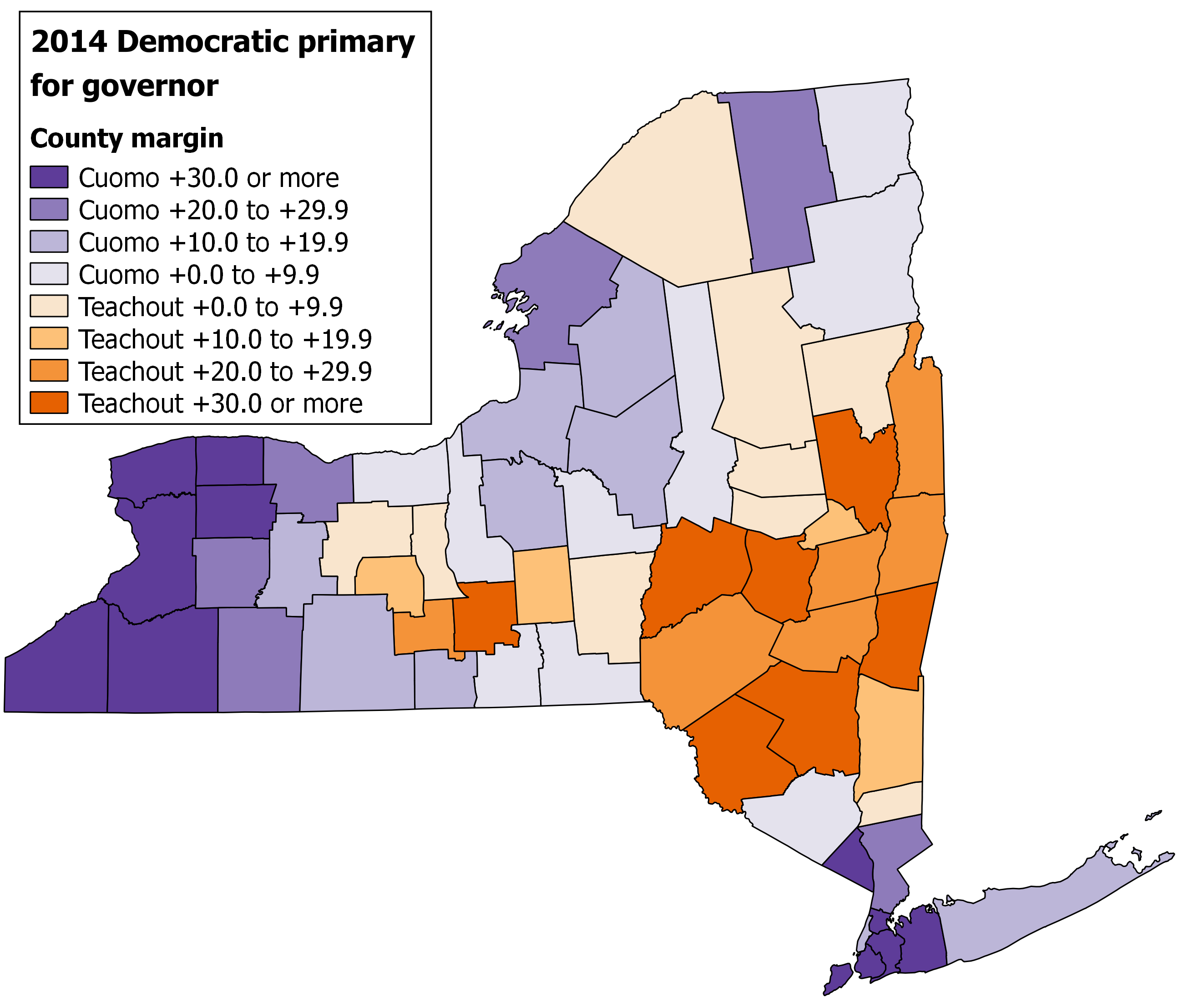 maps 1 and 2 county map and cartogram of cuomo and teachout margins in the 2014 democratic primary for governor