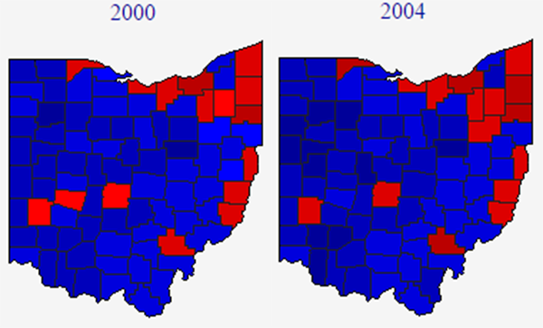 Map 2 2000 And 2004 Ohio Presidential Results
