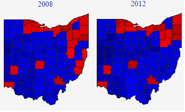 Map 3 2008 And 2012 Ohio Presidential Results