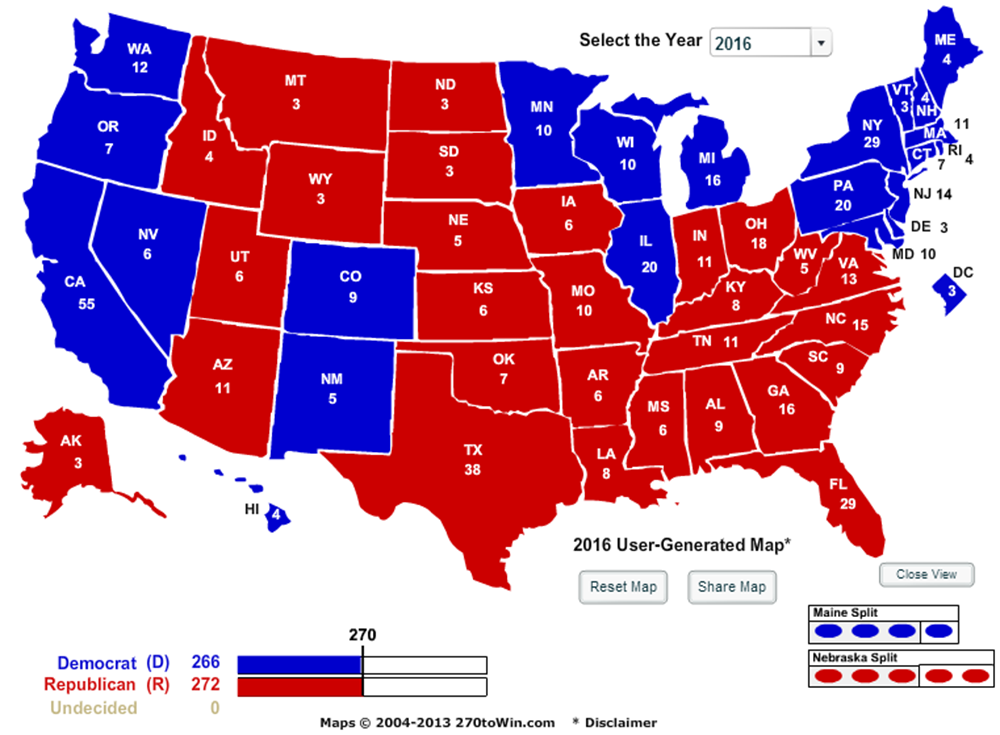 Us Map Democrat Republican States 2016.Larry J Sabato S Crystal Ball The Map 11 Angles On The Electoral