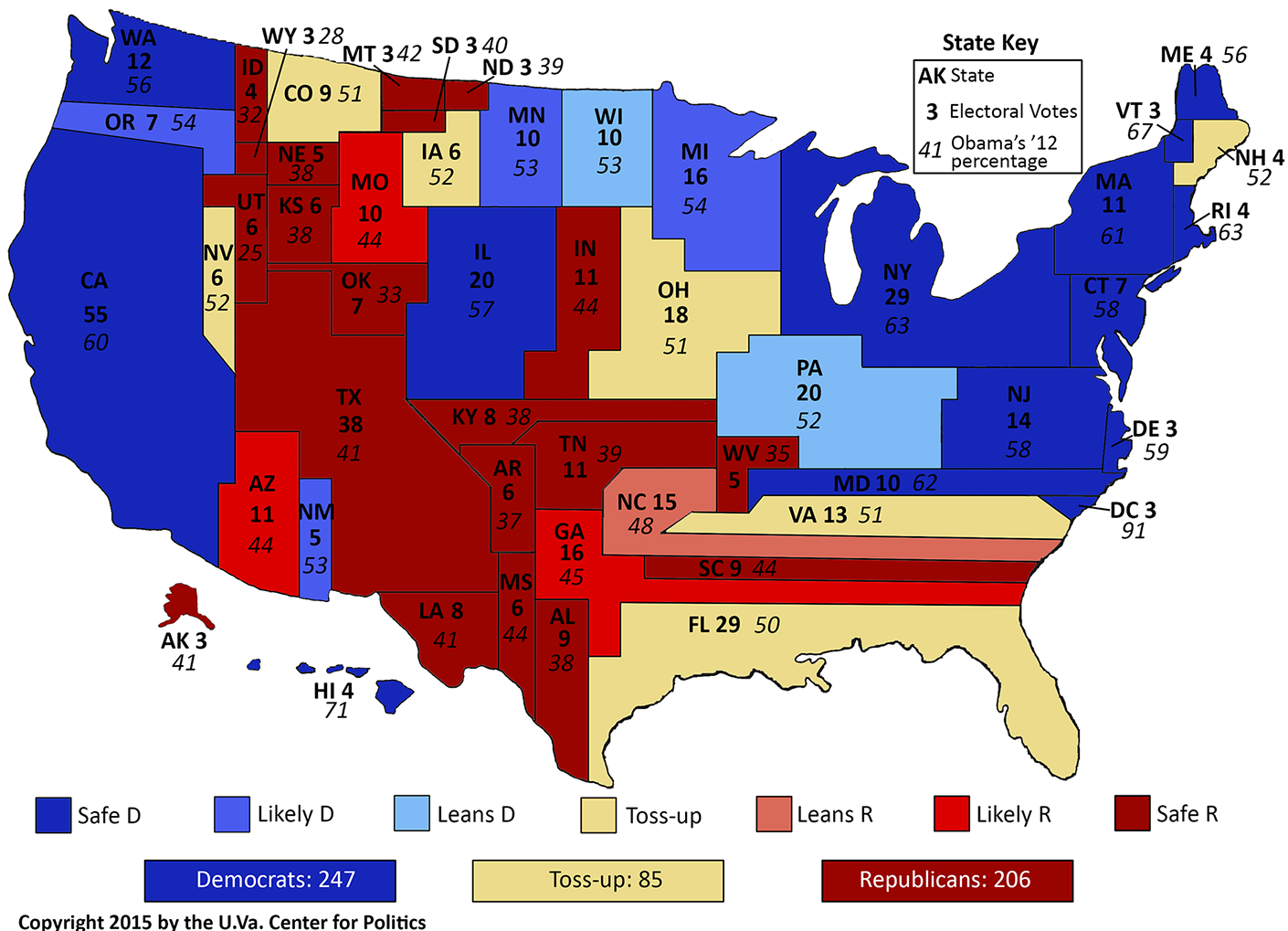 Larry J Sabatos Crystal Ball Mapping The Crystal Balls House - Us map of electoral college 2016