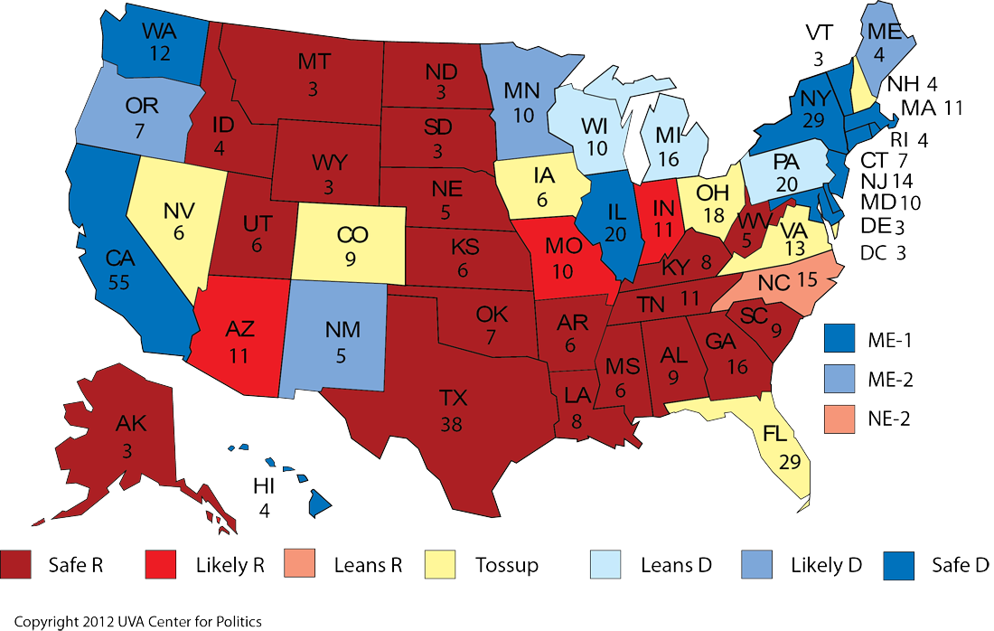 Larry J Sabatos Crystal Ball Tight National Race Freezes - Map of electorate in us