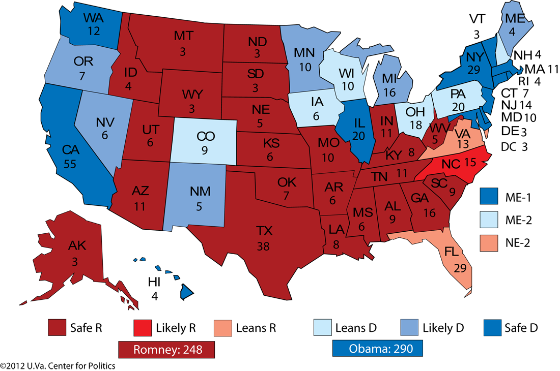 Larry J Sabatos Crystal Ball PROJECTION OBAMA WILL LIKELY WIN
