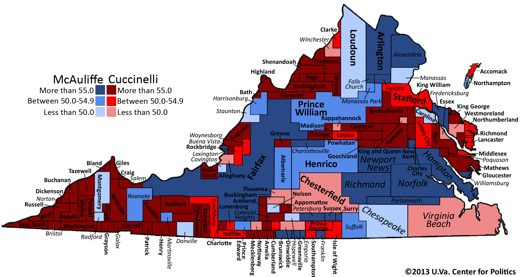Map 2 Political Map Of Virginia Shaded By 2013 Gubernatorial Vote