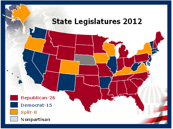 map 1 current partisan control of state legislatures